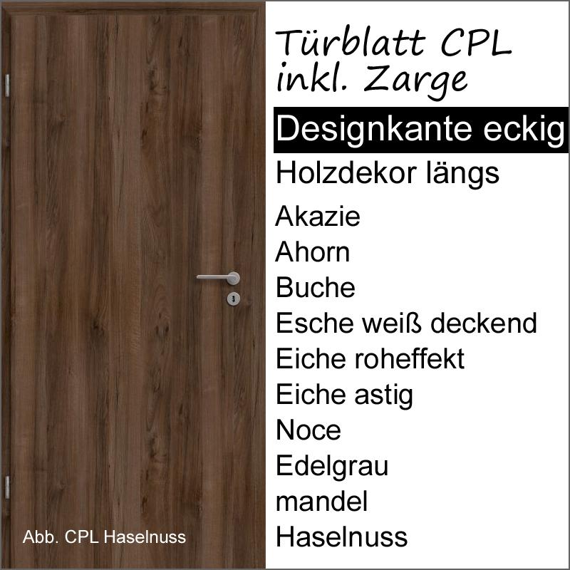 cpl t r mit zarge versch oberfl chen holzmaserung l ngs r hrenspanplatte lichtausschnitte. Black Bedroom Furniture Sets. Home Design Ideas