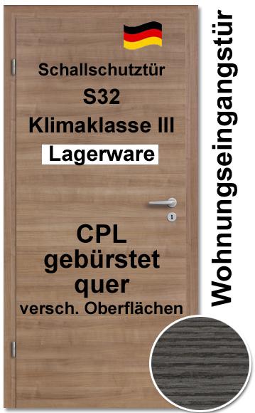 Wohnungseingangstür Inkl Zarge CPL Gebürstet Quer, S32, Klimaklasse III,  Absenkbare Bodendichtung Verstärkte Bänder. U003e