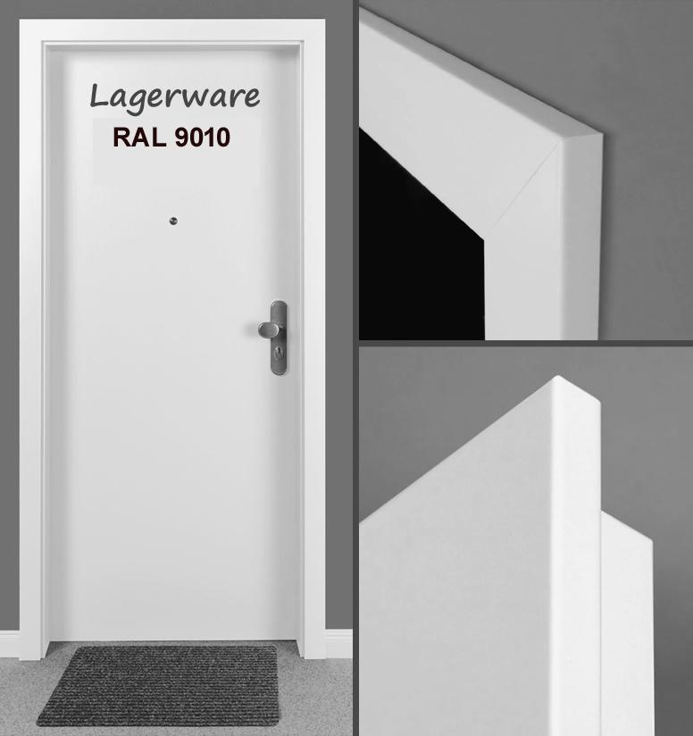 wohnungseingangst r wei lack 9010 cpl glatt mit zarge klimaklasse 2 und 3. Black Bedroom Furniture Sets. Home Design Ideas